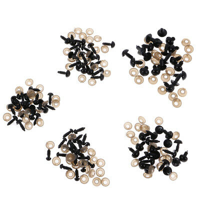 100pcs 6-12mm Plastic Safety Eyes with Backs for Teddy Bear Soft Toy Craft