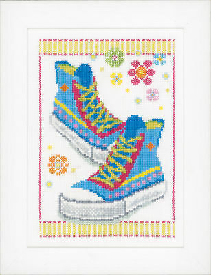 1x Counted Cross Stitch Kit Blue Sneakers Sewing Craft Tool Hobby Art