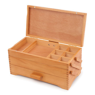 Cantilever Pine Wood Sewing Craft Storage Box Milward Magnetic Fastening Lid