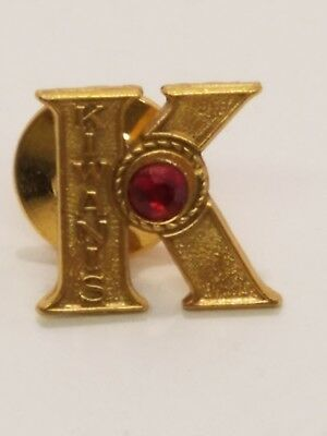 Kiwanis Intnl K Recruiting Member Lapel Pin Red Stone Pinch back Button Tie Tack