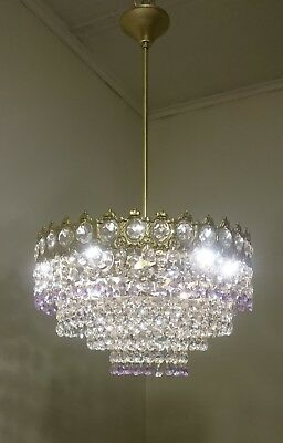 Vintage Brass Crystal Chandelier Basket Ceiling Light Fixture Wedding Lighting