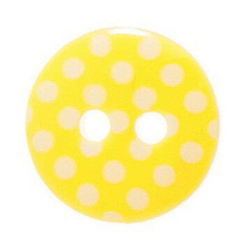 50x Spotty Button 20 lignes/12mm Yellow/White Sewing Craft Tool Hobby