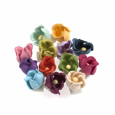 5x Craft Embellishments Paper Flowers Paper Flowers Small Bright 28 Pieces