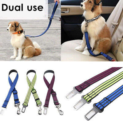 Dog Pet Adjustable Car Safety Seat Belt Harness Restraint Lead Leash Travel Clip
