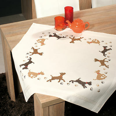 1x Embroidery Kit Thread Tablecloth Playful Dogs Sewing Craft Tool Hobby Art