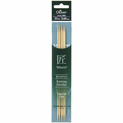 1x Knitting Pins Double-Ended Set of Five Takumi Bamboo 20cmx3.25mm Art