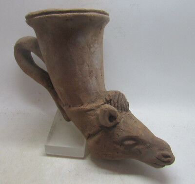 Ancient Greek Decorated Terracotta Rhyton With Horse Head Rare