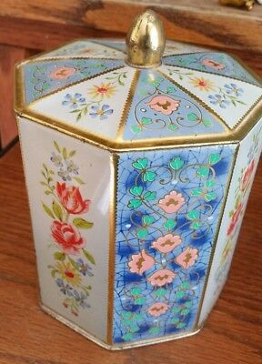 Vintage Octagon Cracker/Biscuit Tin -Floral Design-Western Germany