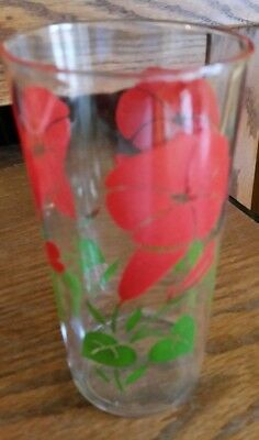Vintage Swanky Juice Drinking Glass- Red Morning Glory