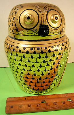 Burma, Myanmar Lacquerware  Good Luck Owl with real gold leaf.