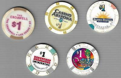 Group Lot 5 All Different Casino Chips ~ Cromwell ~ Rio ~ Horseshoe ~ Sunset Stn
