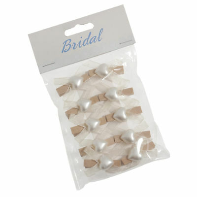 5x Pegs Pearl Heart Bow 1.4cm PK of 10 Ivory Sewing Craft Tool Hobby BCB2146IV