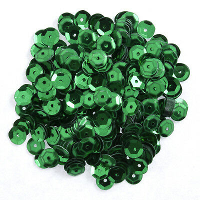 5x Sequins Cup 6mm Dark Green 9g Sewing Craft Tool Hobby Art UK Bulk Filoro