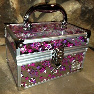 Small Clear Caboodle's Case With Pink, White, and Purple Stars