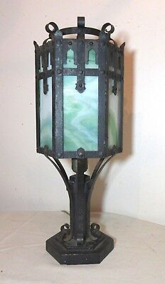 antique ornate Arts & Crafts Mission wrought iron stained slag glass table lamp