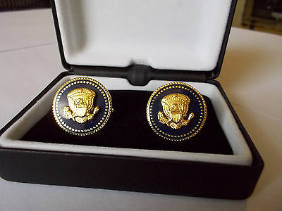 Cuff Links 24K Gold-Plated President George W Bush Vip Blue Cobalt Free Shipping