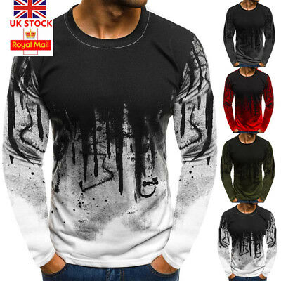 UK Mens Long Sleeve Printed T-Shirt Tops Casual Slim Fit Blouse Tee Size M-2XL