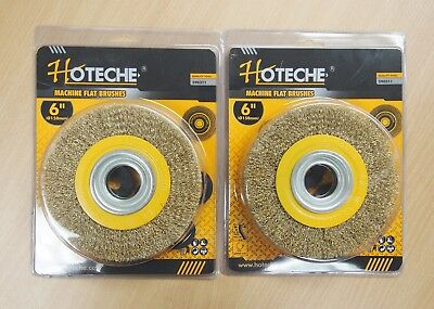 2PC 6'' Crimped Wire Wheel Brush 1'' Thick Deburring Bench Grinder