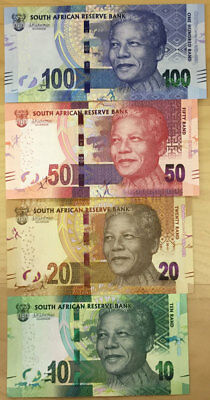 South Africa Banknote P new Mandela 2018 Centenary  set 10-20-50-100 Rand, UNC