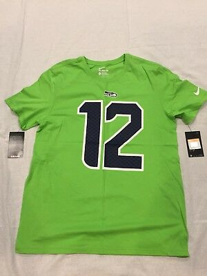 Nike Seattle Seahawks Fan  12 Color Rush Green Shirt 12th Man NWT Mens  Wilson a4047ad38