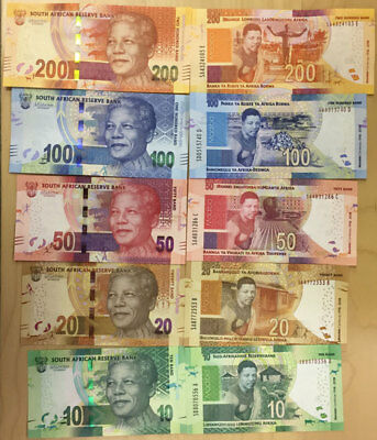 South Africa Banknote new Mandela 2018 Centenary set 10-20-50-100-200 Rand, UNC