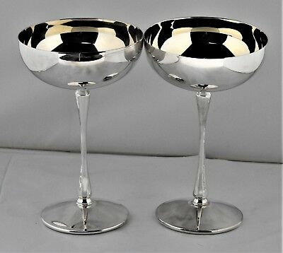 """Set Of 2  Silver plate Wine Champagne Goblets Glasses 6"""" tall Bar-ware Vintage"""