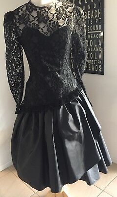 Vintage 80s PROM dress bridesmaid PARTY hens COCKTAIL formal TAFFETA