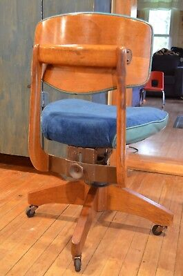 Gunlocke walnut mid century office adjustable chair-original 1950's TEAL BLUE