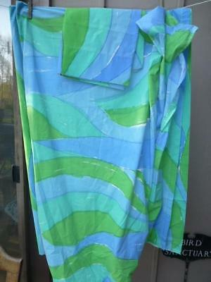 Vtg hippie 70s Vera Neumann Burlington Blue Green Wave Twin Sheet set pillowcase