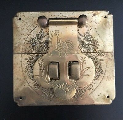 Antique Chinese Brass Metal Hardware Engraved Ornate Clasp Chest Lid Furniture
