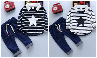 Toddler baby boys clothes striped Tops & jeans autumn kids holiday daily Outfits