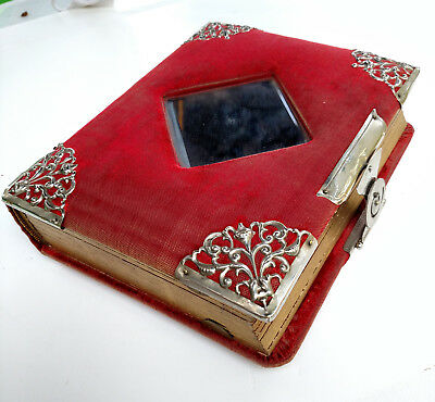 Victorian Photo Album, Chelsea/Manchester MI Area, Red Velvet Cover With Mirror