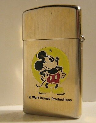 1977 Zippo Slim Mickey Mouse Walt Disney Productions Horizontal Gold Bark Case