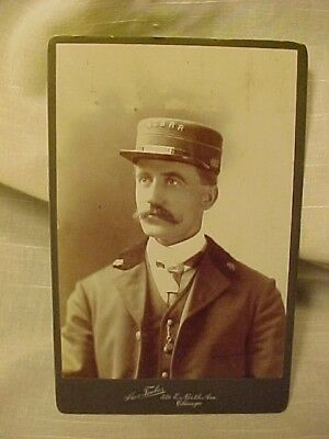 1890s...NORTH CHICAGO STREET RAILROAD CONDUCTOR PHOTOGRAPH..CABINET PHOTO