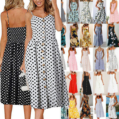 AU Womens Holiday Strappy Button Pocket Ladies Summer Beach Midi Swing Tea Dress