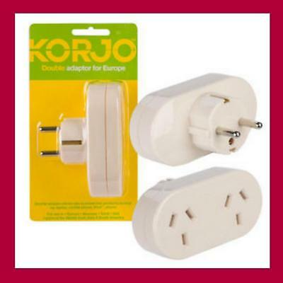 Korjo Travel Plug Adapter Adaptor Charger For Europe From Australia/New Zealand