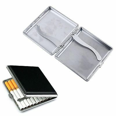 Small Black Pocket Leather Metal Tobacco 20 Cigarette Smoke Case Holder Storage