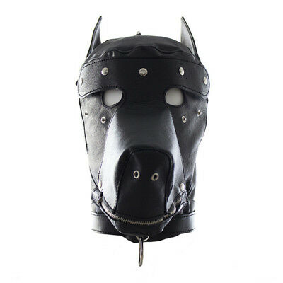 Leather Gimp Dog Puppy Hood Full Mask Mouth Costume Party Mask Zipped Muzzel