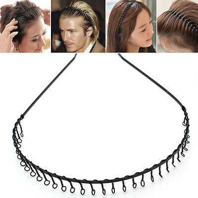 Toothed Hair Band Black Metal Headband Sports Football Women Men Hairband  COMB d35df2e2b47
