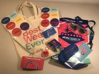 Ebay Open 2018 Swag Tote Bag, Stickers, ID Badge Sunglasses Promo Giveaways
