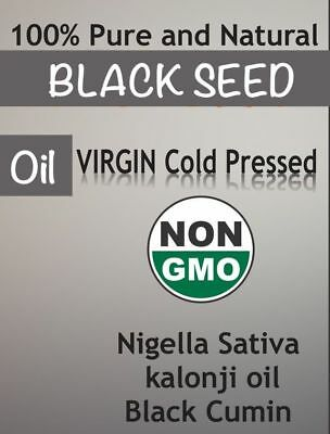 Black Seed Oil Edible Cold Pressed Cumin Nigella Sativa Non GMO ORGANIC  GLASS B