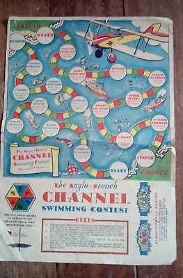Vintage - The Anglo French Channel Swimming Contest Board Game , paper