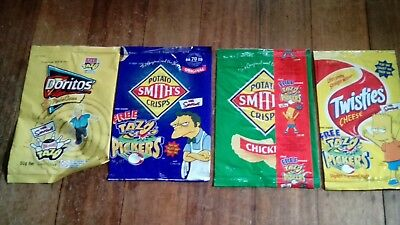 Collectable 'The Simpsons' EMPTY Chip Packets - Doritos, Smiths Crisps, Twisties
