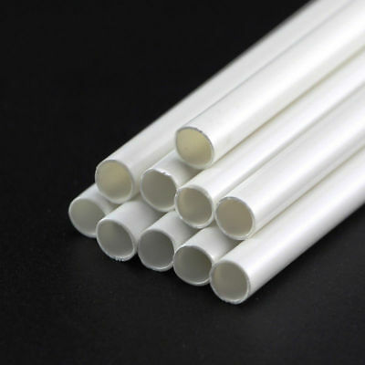 White ABS Plastic Tube Round Hollow Pipe DIY Model Crafts 250mm x 3/4/5/6/8/10mm