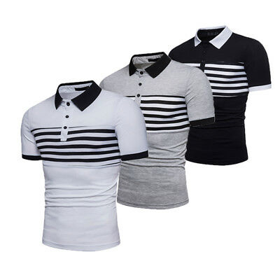 Men's New T-SHIRT Striped Polo Short Sleeve Classic Formal Plain Top Shirts Tee