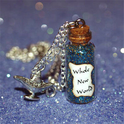 Whole New World glass Bottle Necklace with Genie Lamp Charm Aladdin and Jasmine