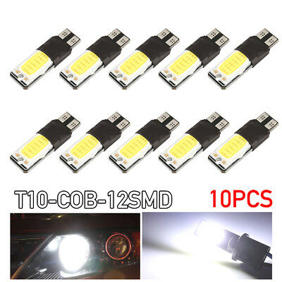 10 x T10 COB LED White W5W Car Light Parker Wedge Side Bulb Lamp DC 12V