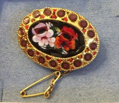 Antique Art Deco Italian Micro Mosaic Brooch Floral Unusual Border Safety Pin