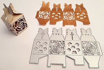 Stanzschablone Cutting dies Scrapbook Schmetterling Box Schachtel 3d Stanze Rose