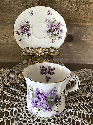 Hammersley Victorian Violets Tea Cup and Saucer Victorian Scroll Design Vintage